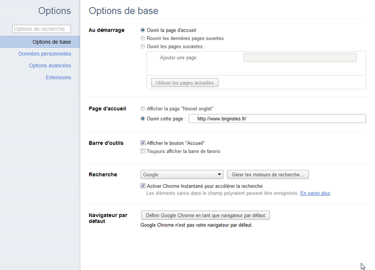 """Options de base"" > ""Page d'accueil"""